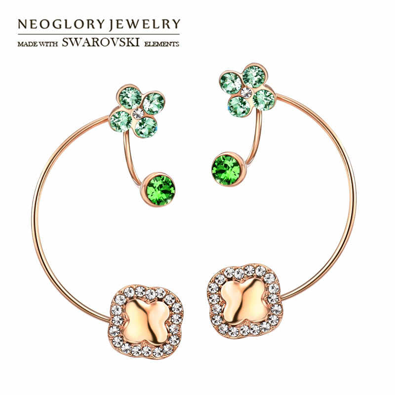 Neoglory Austria Rhinestone Drop Earrings Rose Gold Color Around Flower Design Elegant Fashion Gift For Women Party Sale