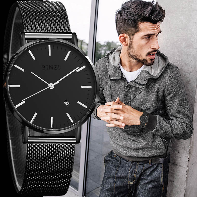 цена на Mens Watches Top Brand Luxury Quartz Simple Ultra Thin Business Watch Stainless Steel Mesh Leather Belt Clock Relogio Masculino
