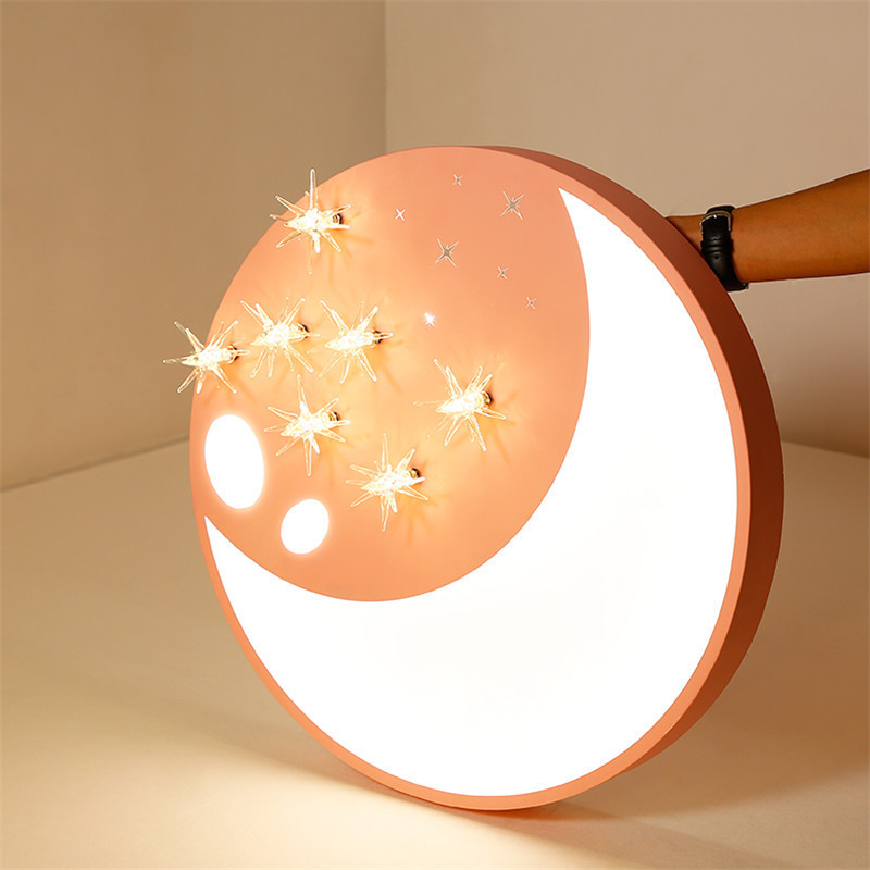 Creative Led Moon Ceiling Light Surface Mounted Ceiling Lamp Pink Fixture Stars Deco Art Home For Boys Girls Bedroom Dome Lamp Ceiling Lights Aliexpress