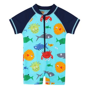 BAOHULU Cute Baby Boys strój kąpielowy z wzorem Cartoon maluch strój kąpielowy dla dzieci stroje kąpielowe One Piece strój kąpielowy dla dzieci tanie i dobre opinie CN (pochodzenie) NYLON Stretch Spandex Chłopcy Jeden sztuk Pływać Pasuje prawda na wymiar weź swój normalny rozmiar