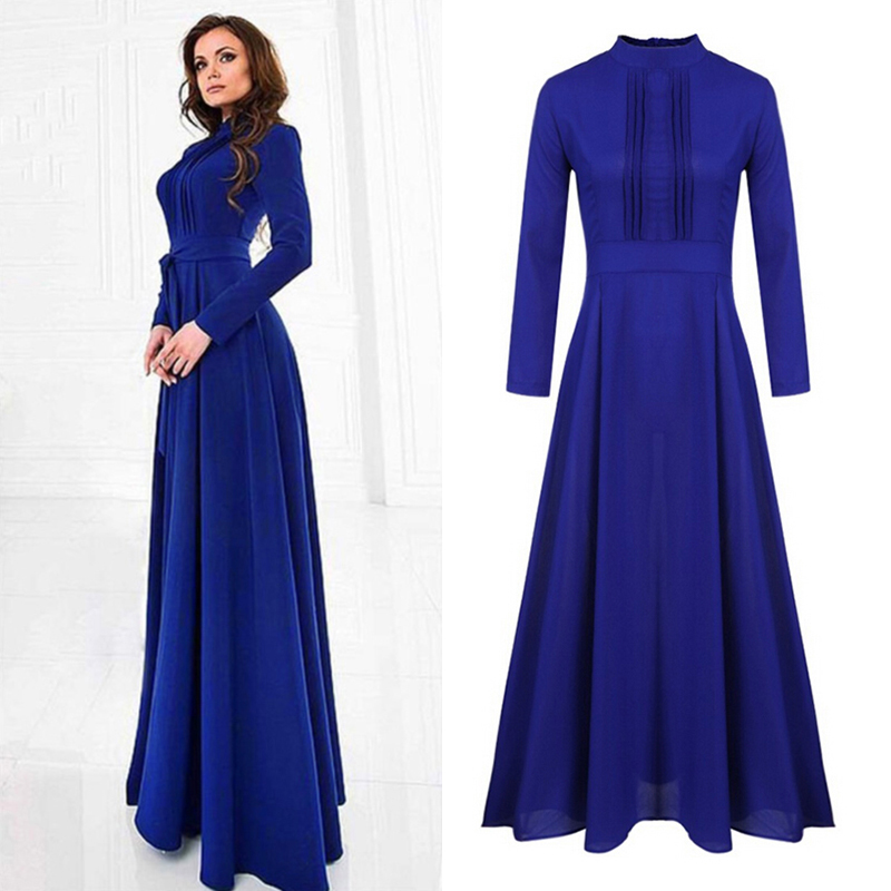 Fashion Muslim New Women Solid Color Zipper Long Sleeve stand neck long Dress Evening Party elegant ladies long dress vestidos