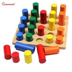 Image 2 - Montessori Sensoiral Đồ Chơi Hình Học Bước Xi Lanh Toán Bé Kingarten Màu Đào Tạo Giáo Dục Đồ Chơi Cho Trẻ Em