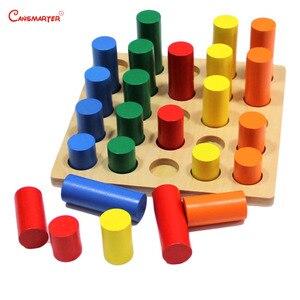 Image 2 - Montessori Sensoiral oyuncaklar geometrik adım silindir matematik yeni yürümeye başlayan çocuklar Kingarten renk eğitim eğitici oyuncak çocuklar için