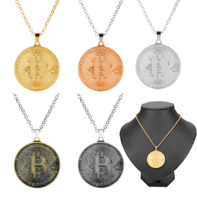 Criativo bitcoin medalha de ouro chaveiro colar masculino moda jóias metal pingente colares transporte da gota