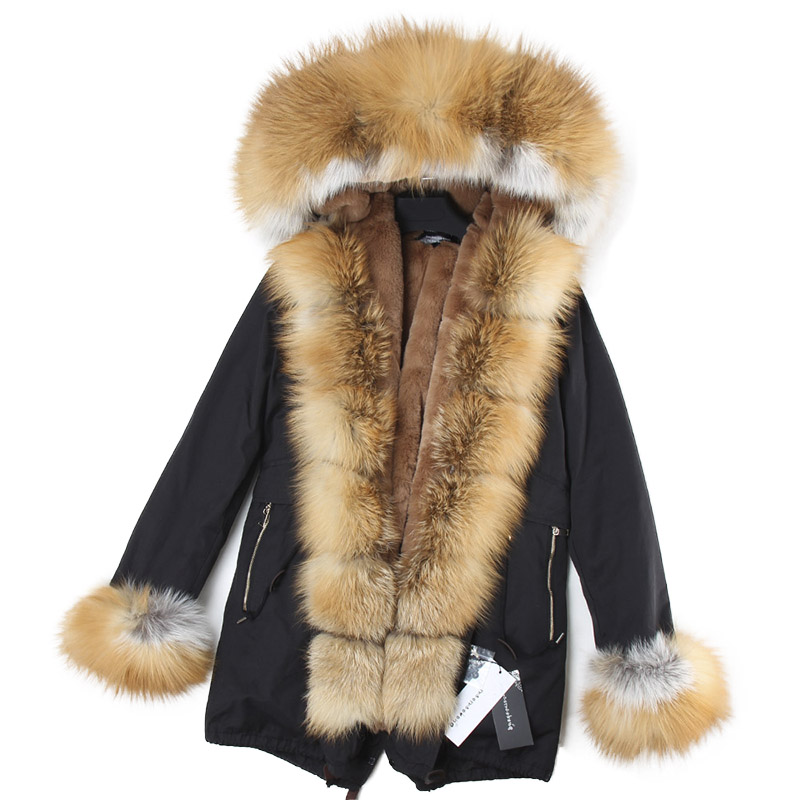 2018 Brand Long Real Fox Fur Coat With Detachable Collar Womens Winter Jackets Thick Warm Fur Lined Parka Natural Fur Coats