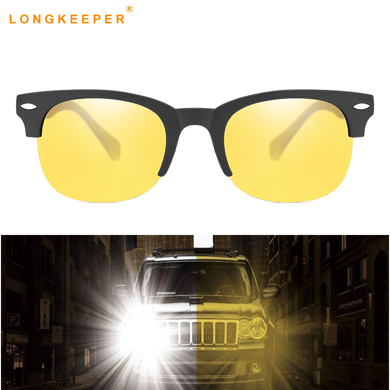 Longkeeper Night Vision Sunglasses Men Women Polarized Driving Glasses Semi Rimless  Yellow Lens Eyeware