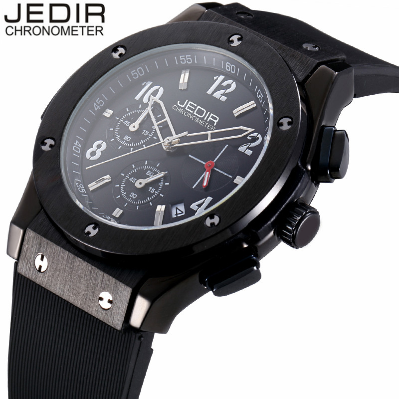 цены  JEDIR Mens Watches Top  Brand Luxury Military Sport Waterproof Quartz Watch Men Chronograph Rubber Wristwatch relogio masculino