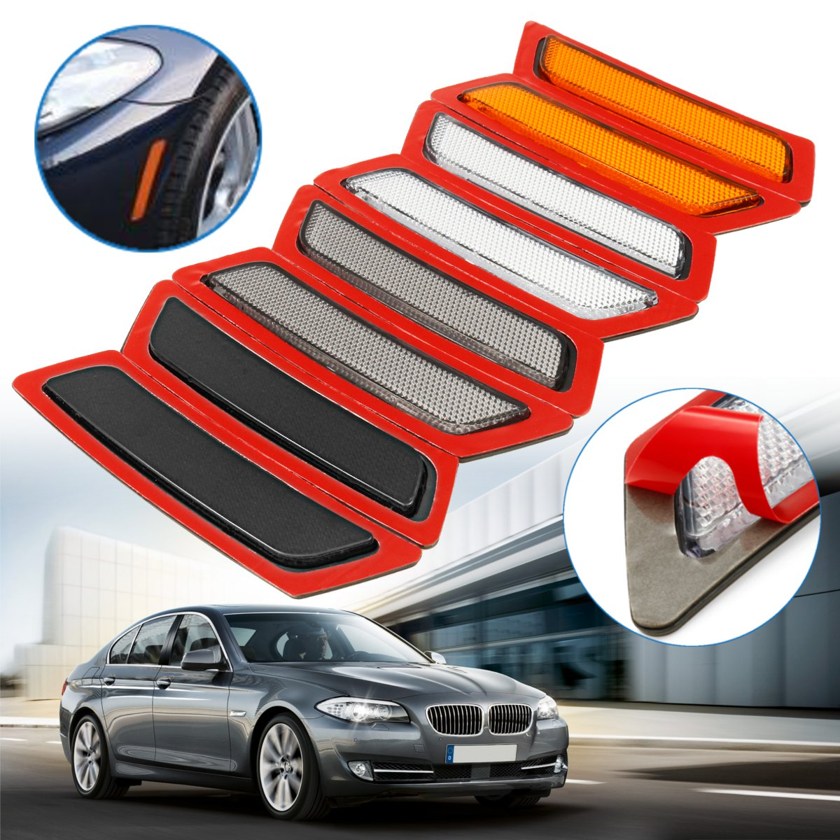 For BMW F32 F33 4-Series Pair Set of Rear Left /& Right Bumper Reflectors Red OES