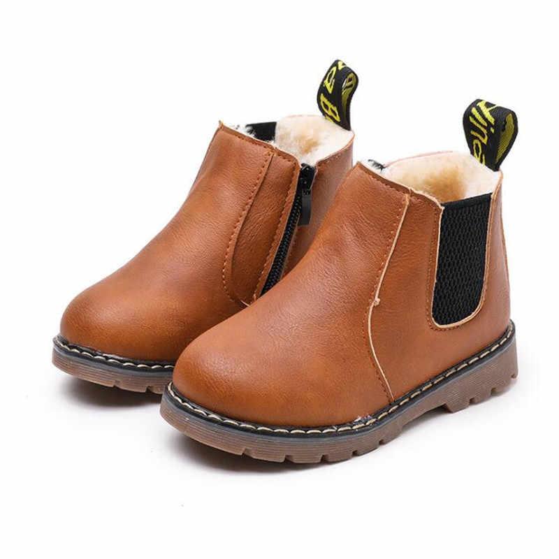MHYONS 2019 ילדי בני מגפי שלג עמיד למים נעלי ילדי עור מגפי ילד מגפי בנות מרטין חם נעלי ספורט נעלי 21 -30