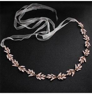 Image 3 - כסף ריינסטון חתונת חגורת אבנט כלה זהב קריסטל סרט חגורת Sashes חגורת יהלומי חתונת קישוט WS J043