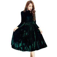 Plus Size 4XL Women Gold Velvet Fashion Winter Dress Female Loose Turtleneck Party Long Dress Vintage Pleated Dress Dress W13