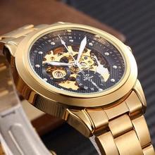 New SHENHUA Luxury Men Gold Mechanical Watches Male Waterproof Shockproof Clock Skeleton Watches Automatic Self Wind Wristwatch