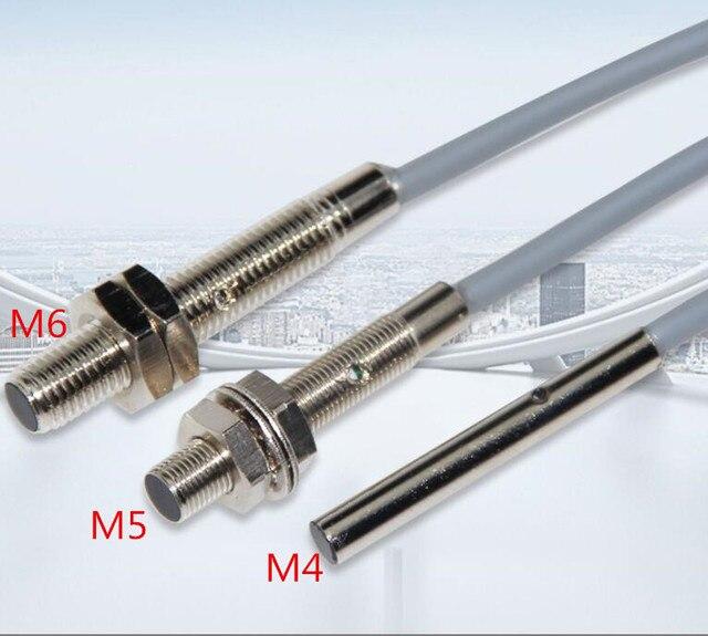 Interruptor con Sensor de proximidad M4, M5, M6, 3 cables, DC10 30V, 500HZ, 100mA, distancia de detección, 1mm, NPN/PNP, 5 uds.