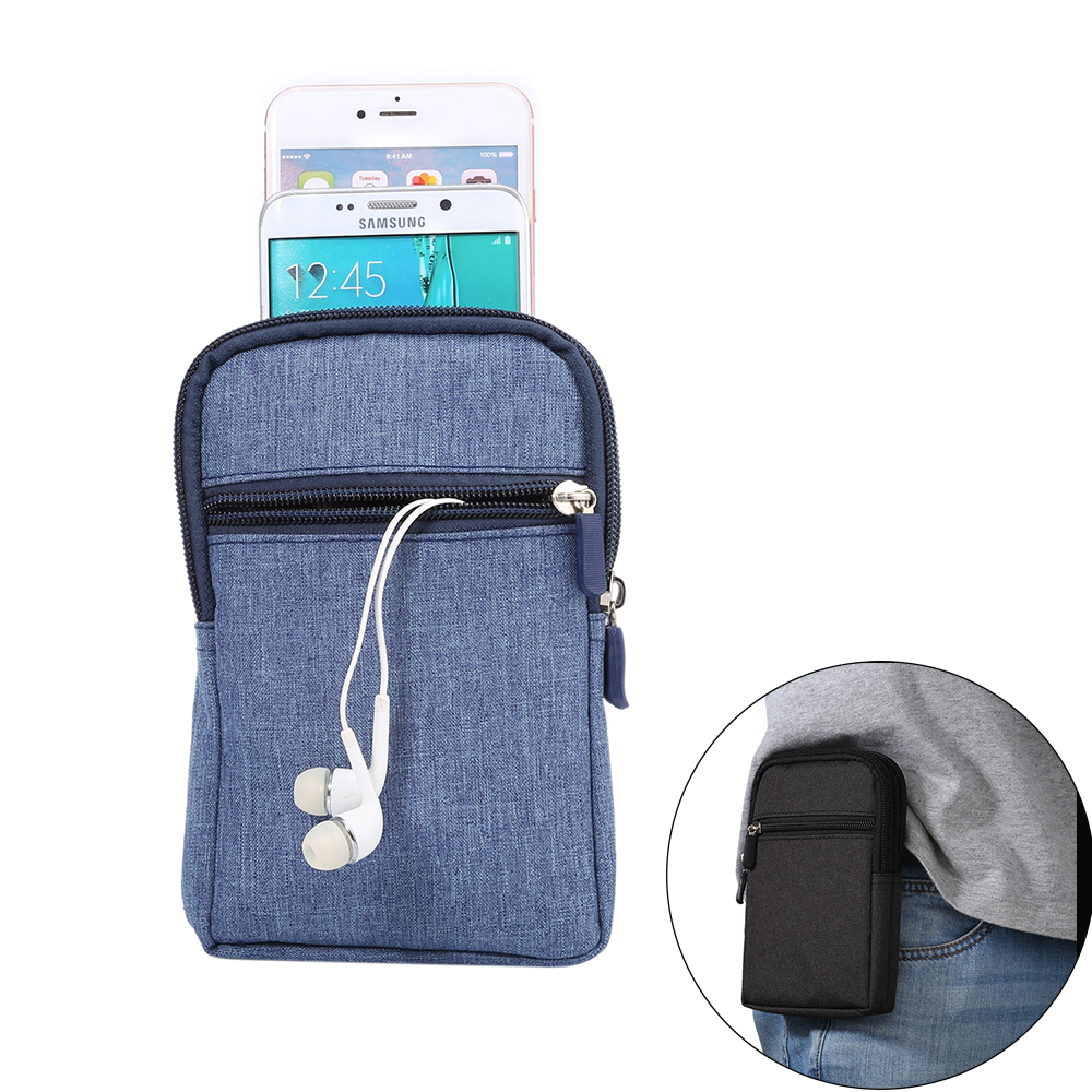 KSQ Casual Washed Denim Sports Wallet Mobile Phone Bag Outdoor Cover Case For Multi Phone Model Hook Loop Belt Pouch Holster Bag