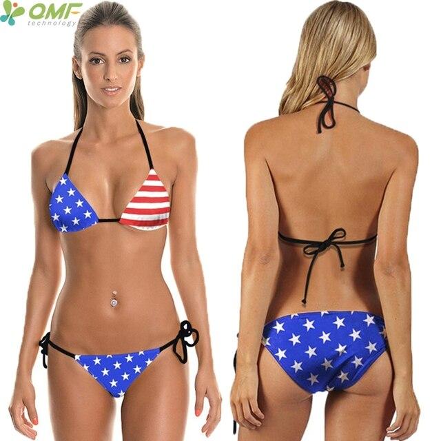 f2ce6eabd0e32 USA Stars Stripes Bikini Set Swimwear American National Flag Bathing Suit  Women Bandage Swimsuits Triangle Brazilian Biquini