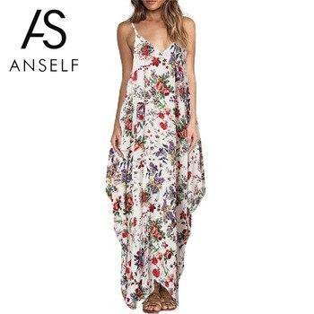Sexy Slip Dresses Women Boho Floral Print Dress Spaghetti Strap Bohemian Beach Dress Loose Long Maxi Plus Size 3XL 4XL 5XL Dress Платье
