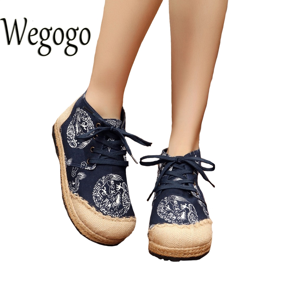 Wegogo Zapatos de Las Mujeres de Impresión Del Dragón Del Vintage Lienzo De Lino