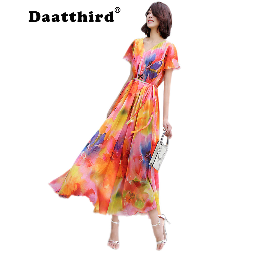 48b675578c 2018 New Collection Summer V Neck Floral Semi Formal Party Maxi Dress Beach  Plus Size Flowy Bridesmaid Sundress -in Dresses from Women's Clothing on ...
