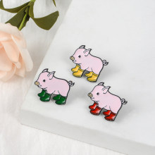 Cute pig Pin Wearing a variety of rain boots DuDu Enamel brooches Funny badges Lapel Pin Fashion Jewelry Gifts for kids children(China)