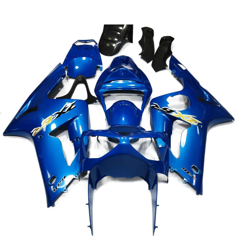 for kawasaki ninja 636 zx6r 2003 2004 body work fairings injection w screws blue and [ 1000 x 1000 Pixel ]