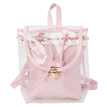 Women's 2 in 1 Clear Drawstring Backpack Transparent Travel Beach Rucksack Bag цена и фото