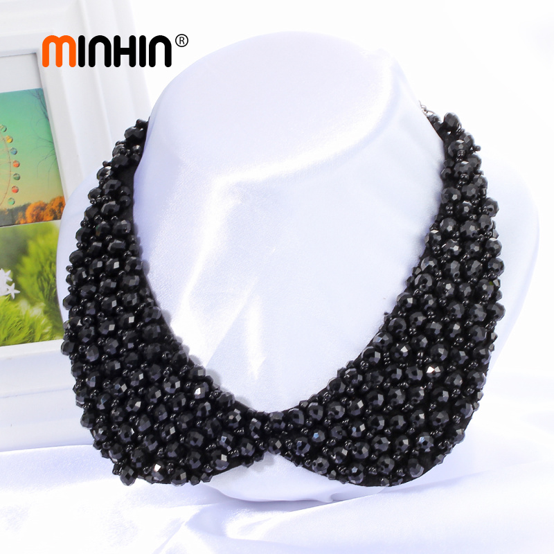 MINHIN Wholesale Multi Colors Luxury Beads Statement Necklace Fake Collar Women 's Clothing Accessories Winter False Collar teardrop knitted fake collar necklace