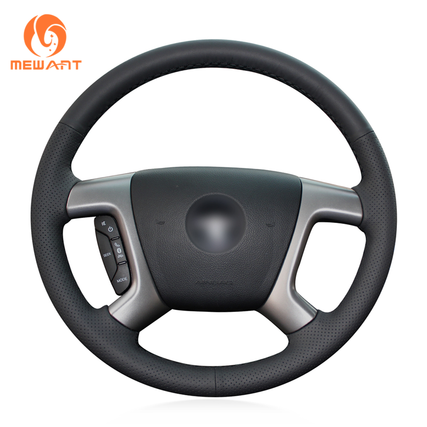 Black Artificial Leather Car Steering Wheel Cover for Chevrolet Captiva 2007-2014 Silverado GMC Sierra 2007-2013 Daewoo Winstorm chrome mirror cover 4pcs 07 14 for chevy suburban silverado for gmc sierra yukon