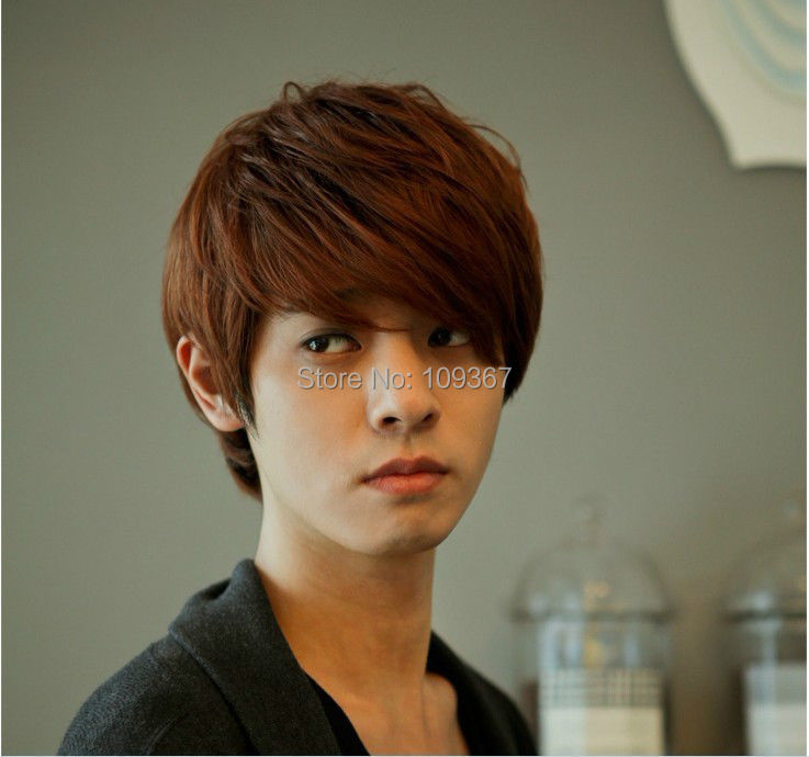 Handsome Boys Wig New Korean Sexy Short Light Brown Mens Hair