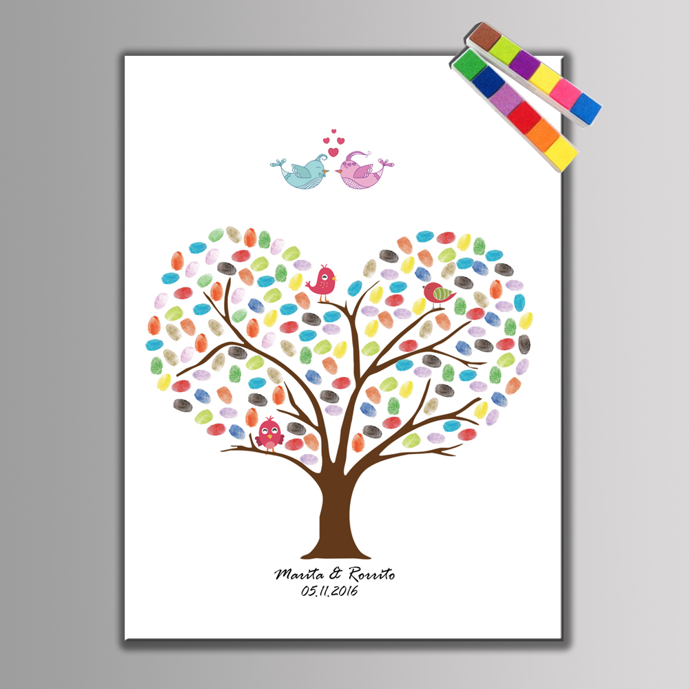 DIY Fingerprint Tree Signature Canvas Wedding Guest Book Wedding Decoration Party Souvenir Supplies with Ink Pad for Free