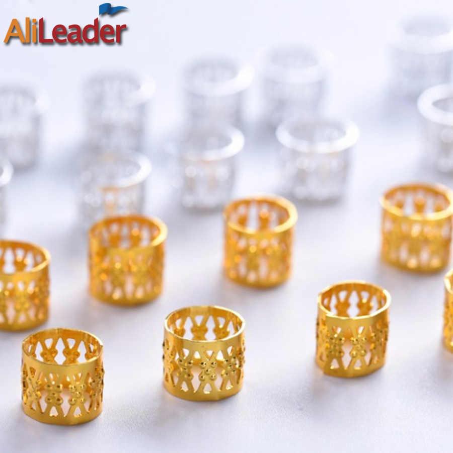 100/50/20 Pcs Silber Goldene Haar Perlen Für Dreadlocks Haar Geflecht Rohre Manschetten Perlen Einstellbare Dreadlock Bead Clip Kinder frauen