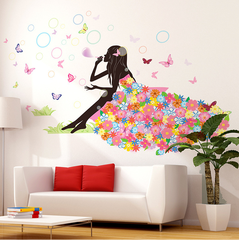 Butterfly Girl Background Wall Wall Murals Elves Bubble Skirt Living Room  Wall Stickers Art Home Decoration