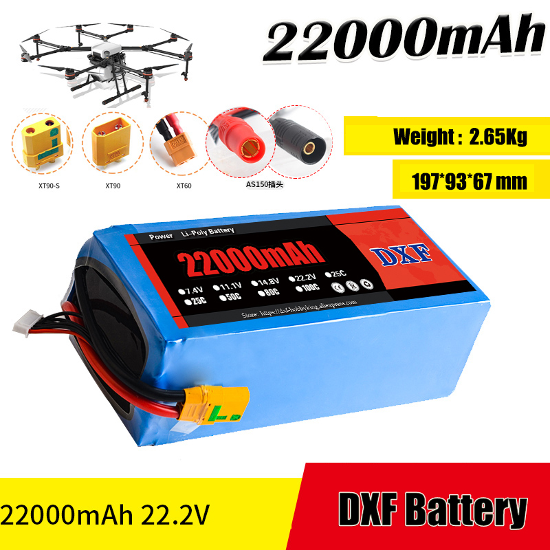 2017 DXF Good Quality Lipo Battery 22000mah 22.2V 25C MAX 60c For Drone FPV Helicopter RC Model Li-polymer Battery 2018 dxf power li polymer lipo battery 2s 7 4v 22000mah 25c max 50c for helicopter rc model quadcopter airplane drone car fpv