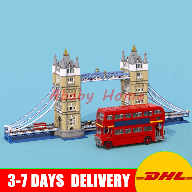 Lepin 17004 London Tower Bridge+21045 London Bus Educational Building Bricks Blocks Model Toys For Christmas Gifts 10214 10258 in stock new lepin 17004 city street series london bridge model building kits assembling brick toys compatible 10214