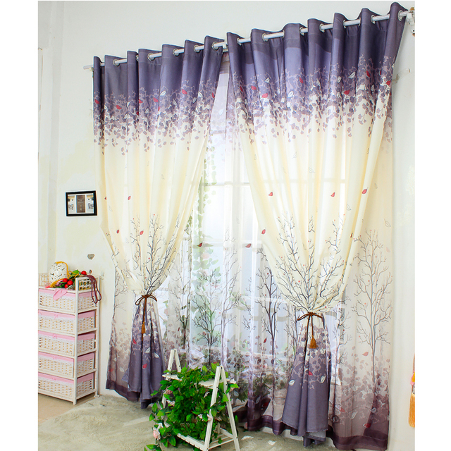 [byetee] Simple Curtain Screens Pastoral Style Bay Window Curtains For Living  Room Bedroom Semi