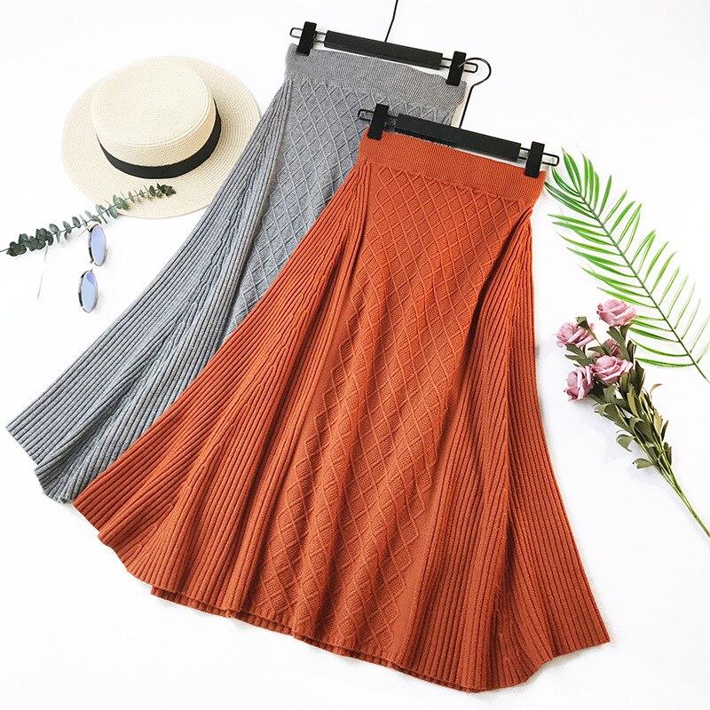 65b0f19dfc8 Wasteheart Autumn Winter Gray Women Skirt Casual Women High Waist A-Line Ankle  Length Skirts