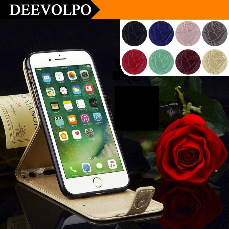 DEEVOLPO Roses Case For Apple iPhone 7 6 6S Plus 5 5S SE 4 4S Open Down UP Flip Stand Leather Retro Card Slot Cover Fundas DP105