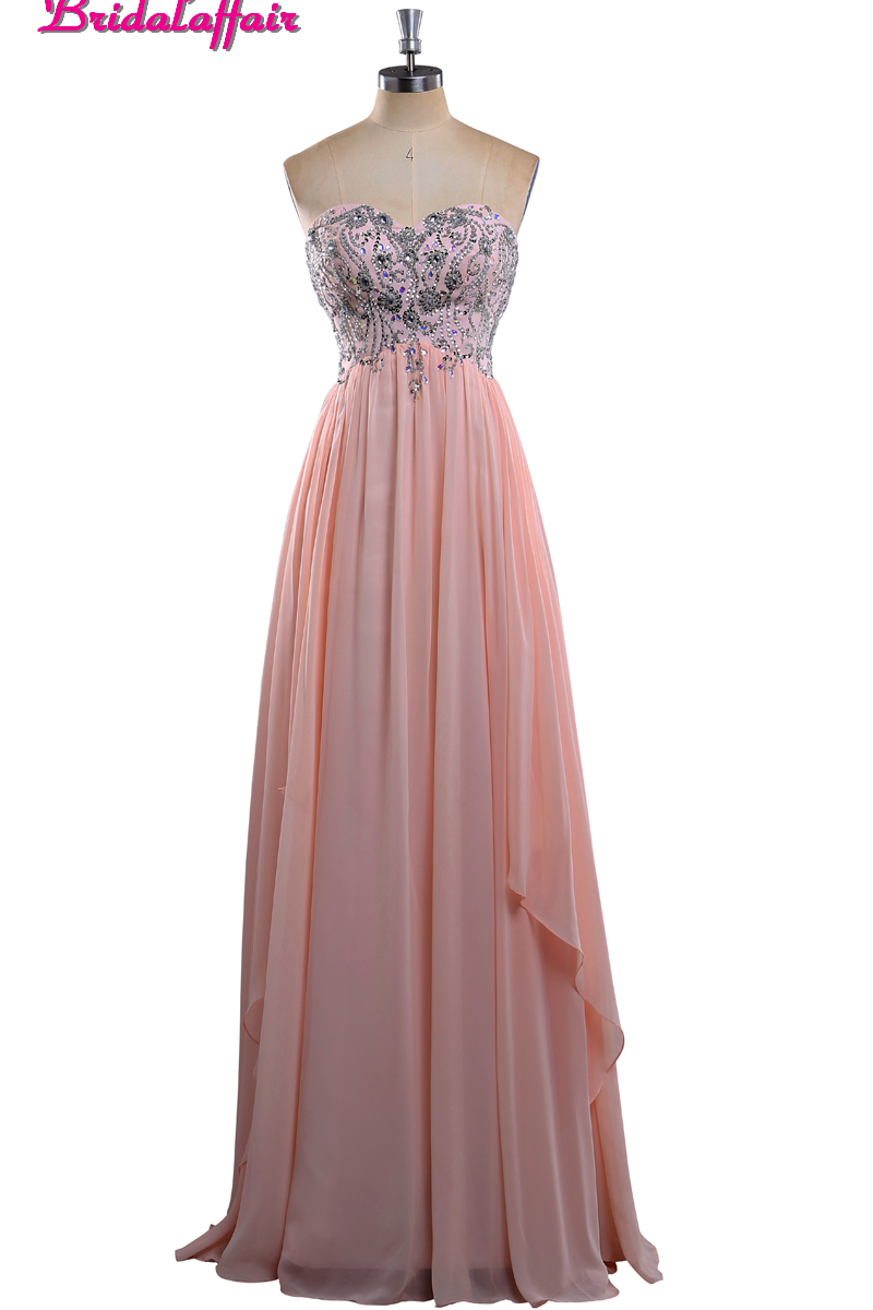 Bridalaffair Real Photo Beads   Prom     Dresses   2017 Custom made Pink Chiffon Sleeveless Sweetheart Evening Party Gown Robe de soiree