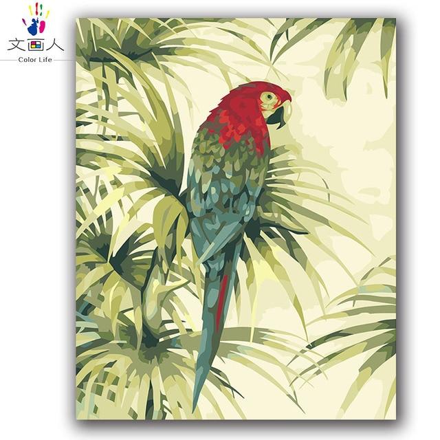 Cat Dengan Angka Burung Beo Dengan Kepala Merah Macaw Gambar Lukisan