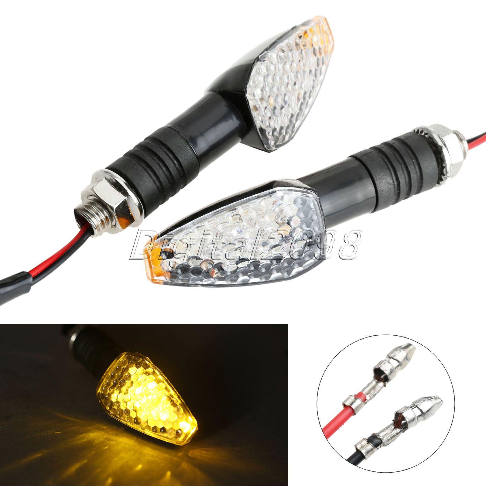 Yetaha 2x Universal Motorcycle Led Turn Signal Indicator Light Amber Lamp Bulb Blinker Flashers For Suzuki Honda Yamaha KTM BMW