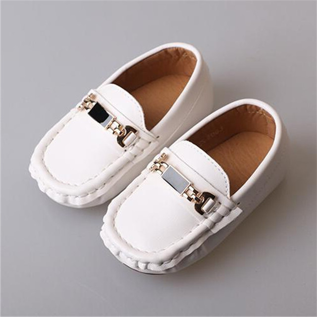 8bd1258167a2 New Spring Autumn Flats Children Leather Shoes Boys Girls White Black Dress  Shoes Baby Toddler Loafers Kids Student Shoes 02B