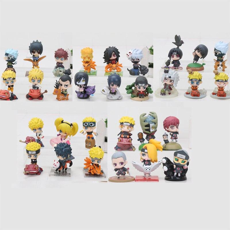 5sets Naruto figure 6cm Shippuden Kakashi Sasuke Shikamaru Gaara Yondaime Minato Kyuubi Kurama 6pcs set pvc
