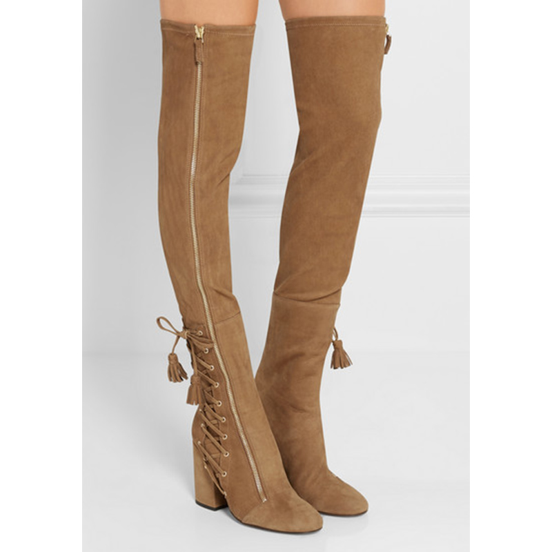 Stretch Cross-tied Tassels thigh high boots balck brown chunky high heel over the knee boots big size lace up women booties