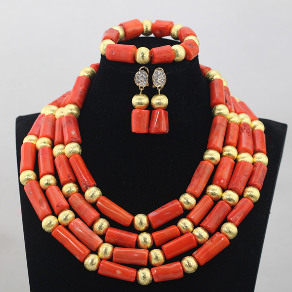 Amazing Coral African Wedding Beads Jewelry Sets Charms Pendant Statement Necklace Set for Bridal QW986Amazing Coral African Wedding Beads Jewelry Sets Charms Pendant Statement Necklace Set for Bridal QW986