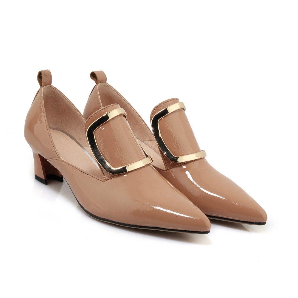 Abricot Brevet De Chaussures Med Automne apricot Cuir Black En Élégantes Noir Dames Pompes Bout Printemps Talons Mode Pointu Femmes Vache Asumer TKFlc1J