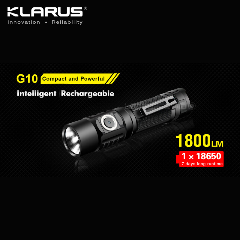 New Arrival KLARUS G10 1800 Lumens Micro-USB Rechargeable Intelligent Powerful Flashlight with 3600mAh 18650 Battery