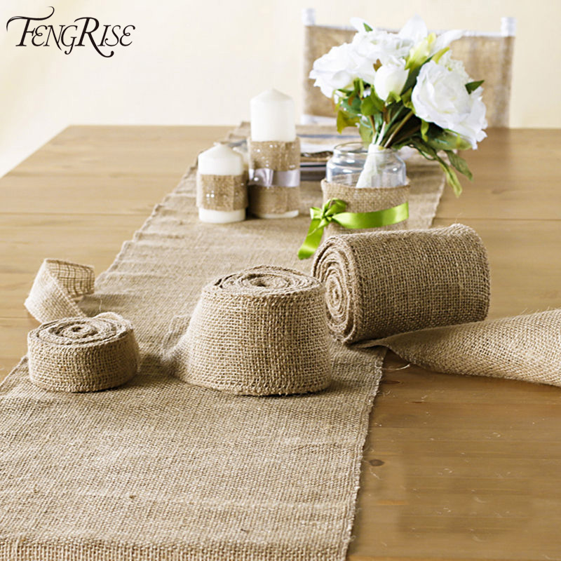 Fengrise 5 10cm 5m sisal wedding centerpieces decoration for Diy jute