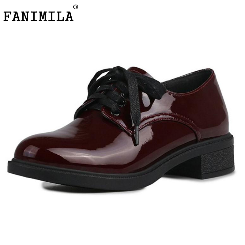 FANIMILA Patent Leather British Style Shoes Women Pumps Round Toe Square Heel Lace Up Shoes Preppy Chic Footwear Size 34-40