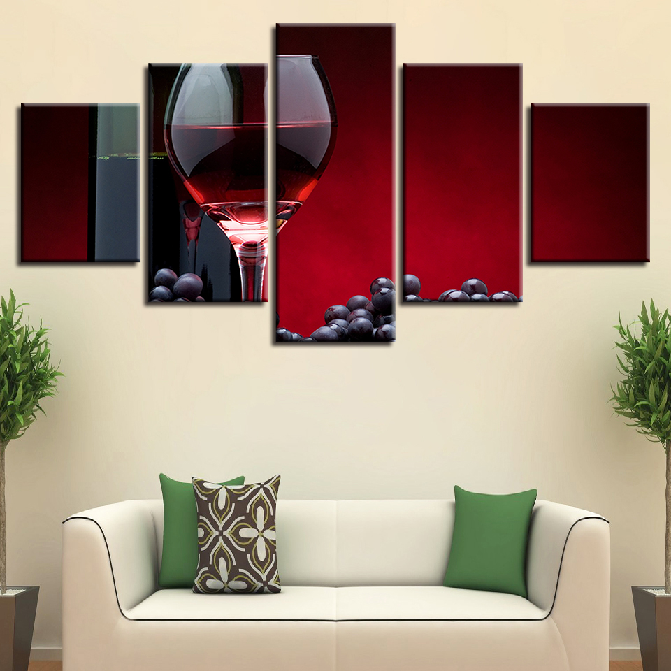 Kitchen Wall Painting Designs: Canvas Pictures Home Wall Art Unframed 5 Pieces Grapes Red