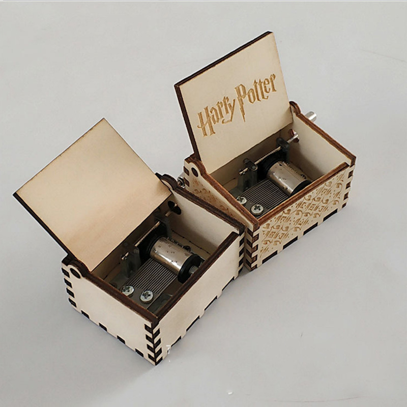 harri pottermusic box  Antique carved wooden DIY Hand-cranked  Wood  box Color Black Christmas gift new year gift kids toys