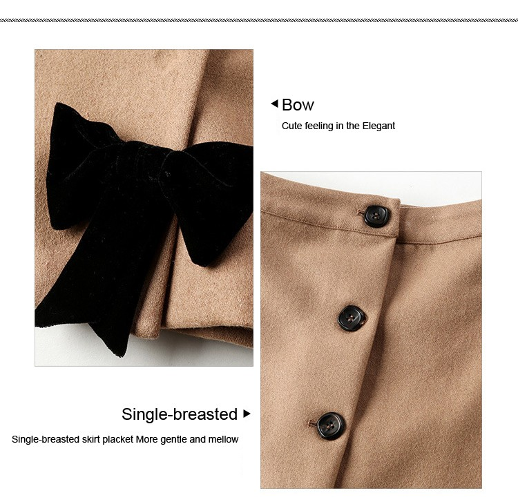 C Style Wool Cashmere Manteau Coat Skirt Suit with Bow Decoration Winter(7)